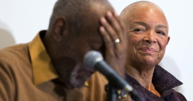 FILE - In this Nov. 6, 2014 file photo, Camille Cosby, right, looks on as Bill Cosby speaks during a news conference about the upcoming exhibit, Conversations: African and African-American Artworks in Dialogue at the Smithsonian's National Museum of African Art, in Washington. After amassing a private collection of African-American Art over four decades, Cosby and his wife Camille plan to showcase their holdings for the first time in an exhibition planned at the Smithsonian Institution. Sexual assault allegations that recently resurfaced against Bill Cosby first became public in 2005 when a former employee of his alma mater, Temple University, claimed he had drugged and abused her a year earlier at his suburban Philadelphia home. (AP Photo/Evan Vucci, File)