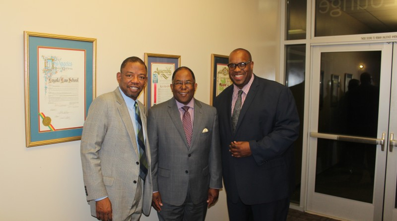 Carl E. Douglas, Esq., Mark Ridley-Thomas, Supervisor Los Angeles County and Michael Reel, Founder, Reel Urban News @ The Johnnie L. Cochran, Jr., Public Service Award Reception, Loyola Law School DTLA