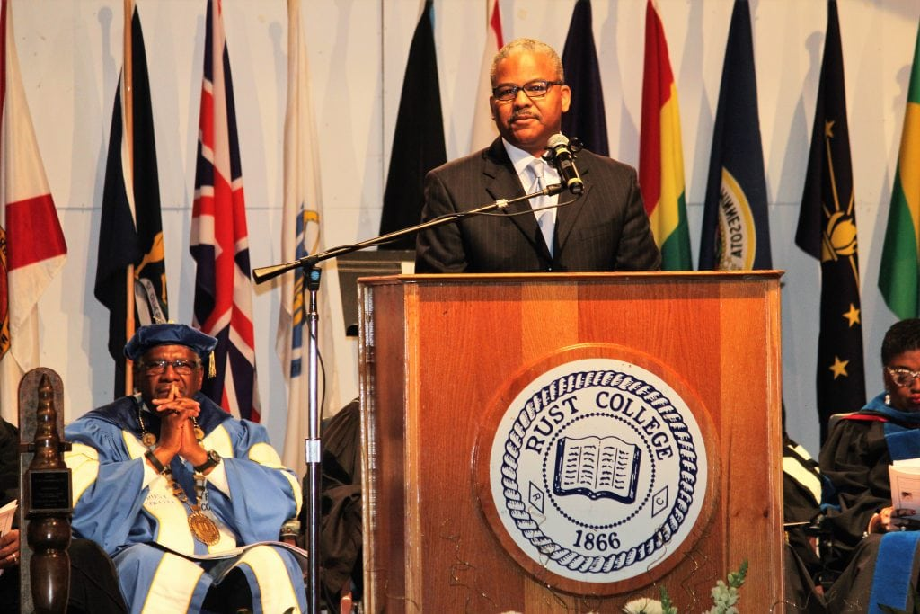 Hon. Kelvin O. Buck, Mayor, City of Holly Springs greeted the 150th Convocation audience. Photo/Reel Urban News