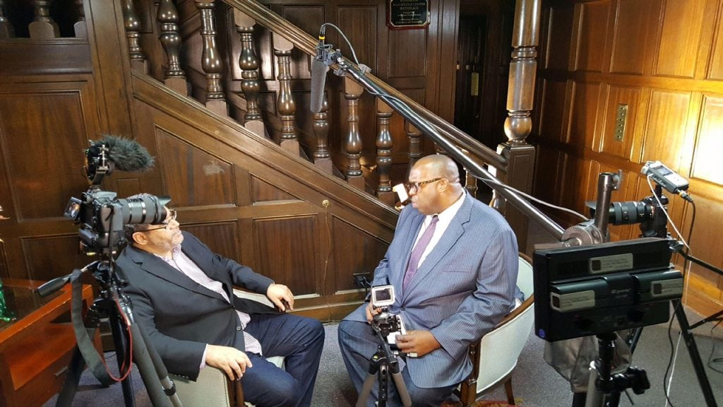 "Author, Michael Eric Dyson discussing ""Tears We Cannot Stop: A Sermon to White America with Michael Reel, Reel Urban News. Reel Urban Images/Reggie Simon"