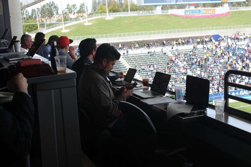 Sports Journalist and international media observed the L.A. Galaxy home open from the Press Box at the STUBHUB CENTER, Carson, Ca. Photo Credit: Michael Reel/Reel Urban Images