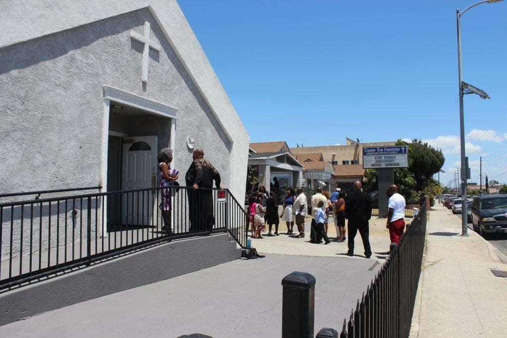 Rev. Gerald Adams celebrates with the members and friends of Greater True Baptist Church, Los Angeles