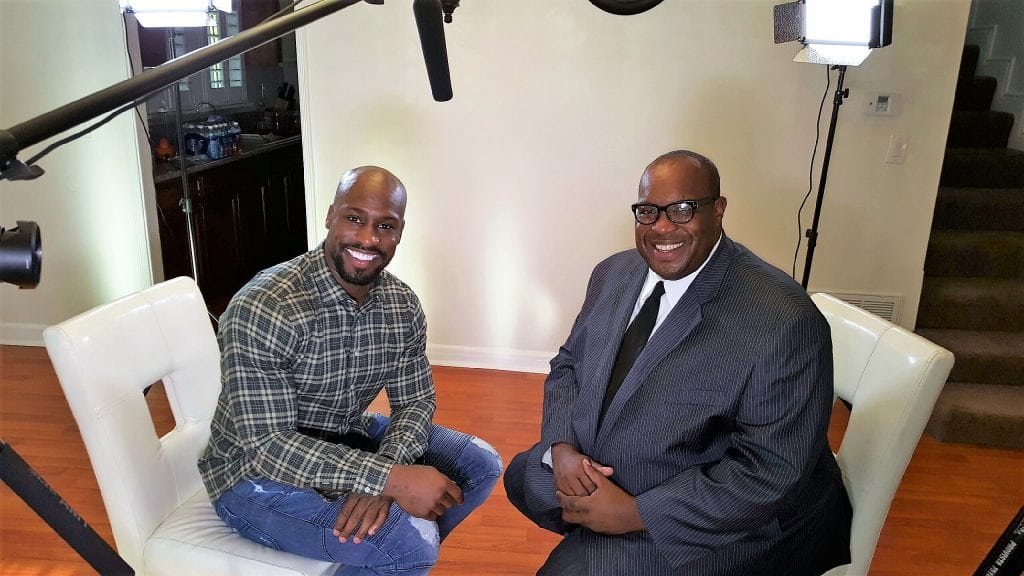 Vernon Davis, NFL All-Pro Tight End appears with Michael Reel, Reel Urban News post interview in Los Angeles, Ca. Photo Credit: Reggie Simon/Reel Urban Images